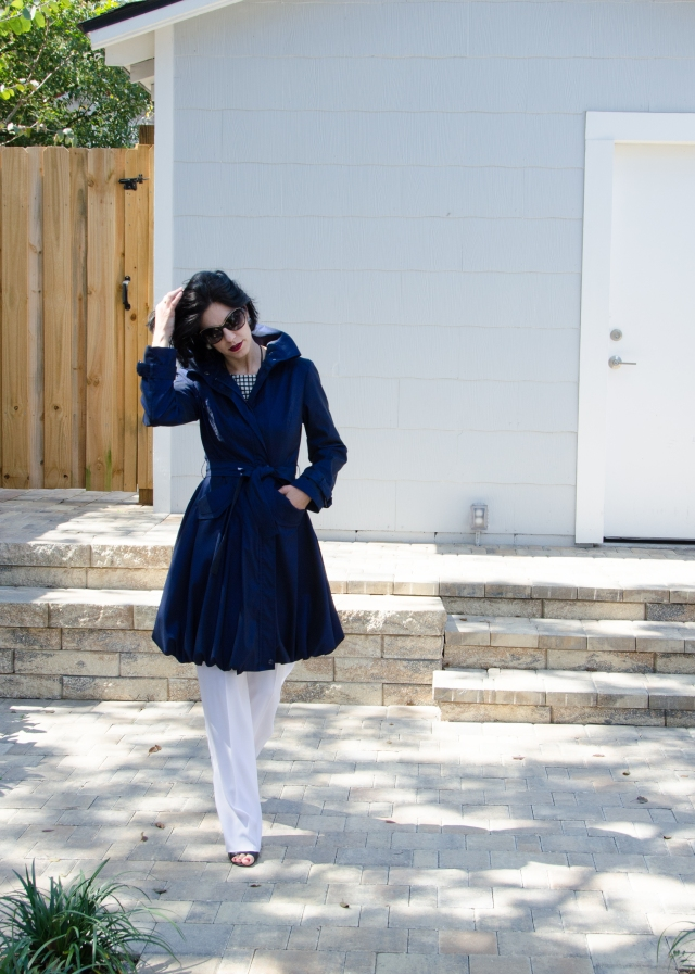 blue trench black white windowpane