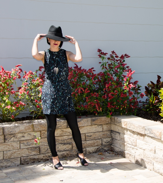 Dress over pants with hat