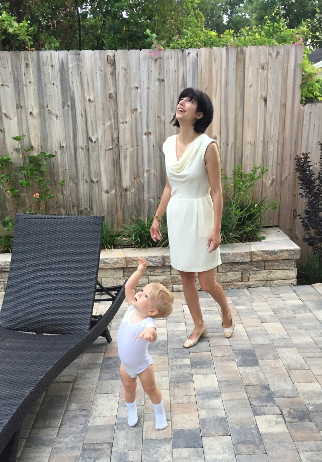 ivory and white dress on back patio