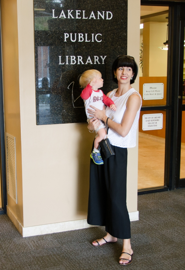black culottes at library