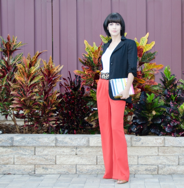 orange pants black linen jacket