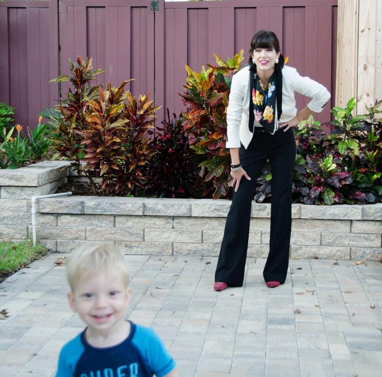 black pants white tux jacket floral scarf 2