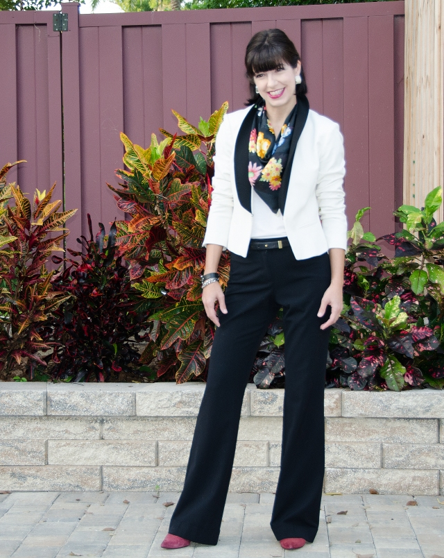 black pants white tux jacket floral scarf