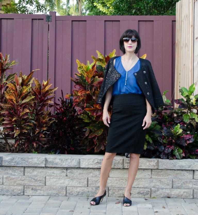 blue top black pencil skirt 2