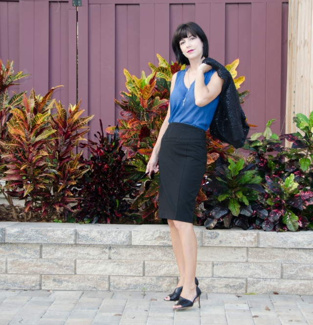 blue top black pencil skirt